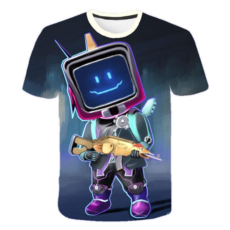 T-shirt à manches courtes pour enfants et adolescents, vêtements cool, dessin animé robot impression 3D, mode décontractée