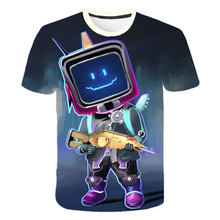 Street cool clothing cartoon robot 3D printing children's fashion casual short-sleeved T-shirt tops that teenagers like
