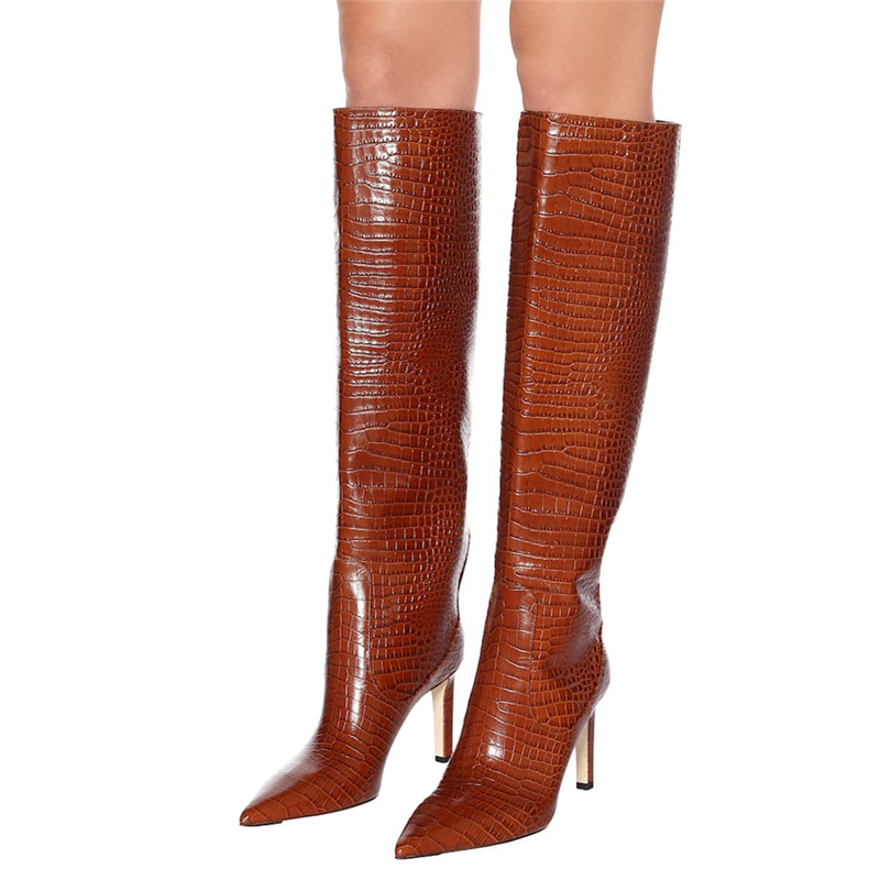 Fashion Plaid Knee High Long Boots Pointy Toe Wide Calf Slip On Winter Boots Women High Heel Stiletto Stone Print Runway Boots