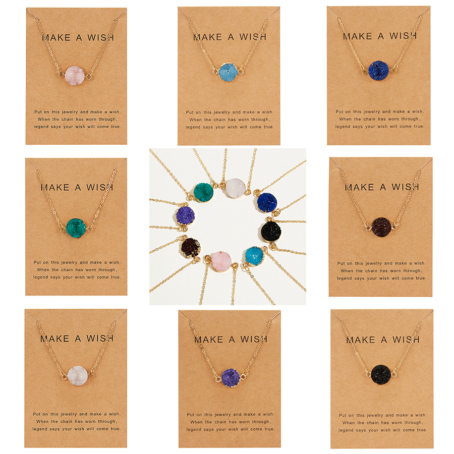 Rinhoo Wish Card Jewelry Gift Round Pendant Necklace Natural Stone Quartz Druzy Stone Link Chain Necklace for Women Collars