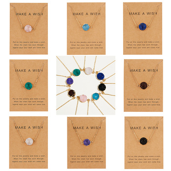 Rinhoo Wish Card Jewelry Gift Round Pendant Necklace Natural Stone Quartz Druzy Stone Link Chain Necklace for Women Collars n091808 18 29 7 strands pearl necklace quartz druzy pendant
