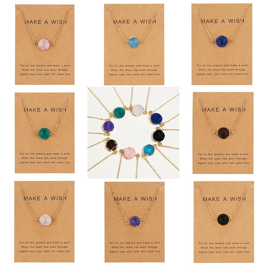 Rinhoo открытка желаний, ювелирное изделие, подарок, круглая подвеска, ожерелье, натуральный камень, кварц, друза, камень, звено цепи, ожерелье для женщин, воротники|Ожерелья с подвеской|   | АлиЭкспресс