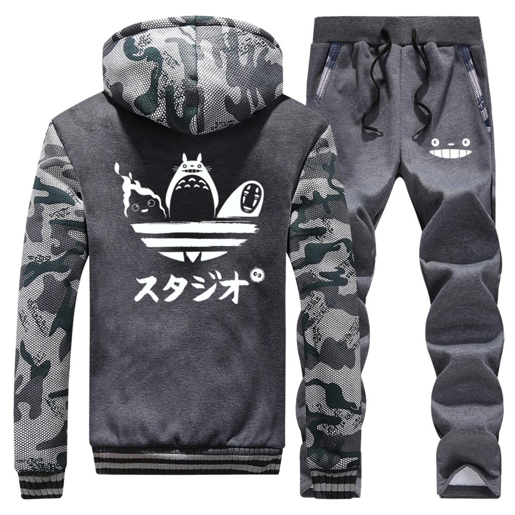 Spirited Away Totoro Print Thick Hoodie Sweatshirt+Pants 2 Piece Sets No Face Man Hoodies Anime Men Clothing Winter Tracksuit