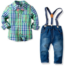 2019 New Autumn Plaid Shirt+Jeans Pant 2pcs Kids Suits Blazers Baby Boys Single Breasted Blouse Overalls Tie Suit Clothing