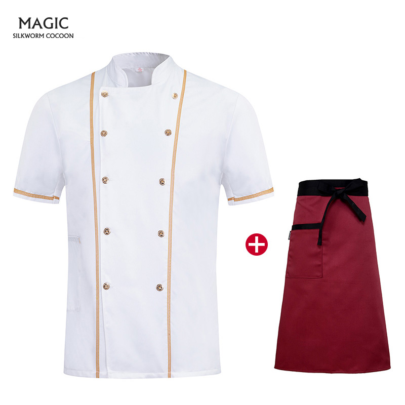 Hotel Bakery Working Wear Restaurant Clothes Tooling Uniform Summer Short-sleeved Chef Service Chef Uniforms Shirts Chef Apron