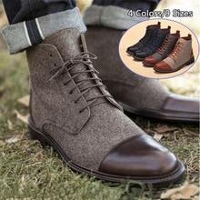 Мужские Ботильоны; зимняя повседневная обувь на шнуровке; ботинки-оксфорды; гладиаторы в стиле пэчворк; sapato feminino chaussure; размеры dfv67