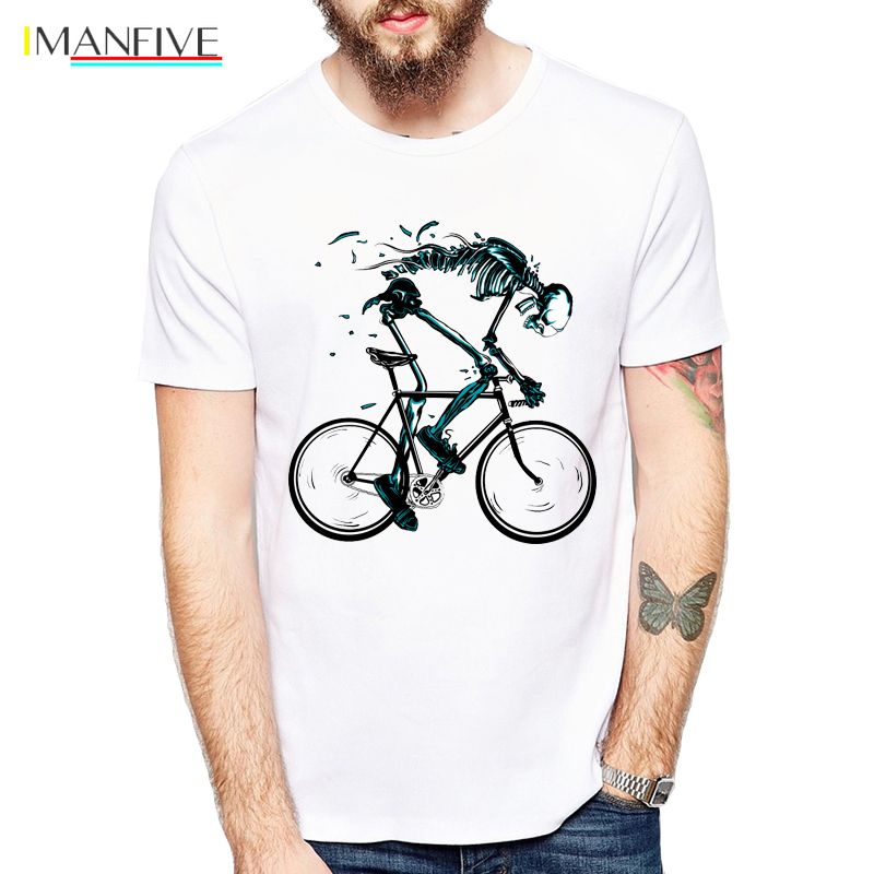 Worn out Bikes T shirts Men Funny Skeleton bicycle Design Short Sleeve O neck Tshirts Fashion Sku 39 l 39 l Style Tops Tees in T Shirts from Men 39 s Clothing