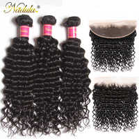 Nadula Hair Peruvian Deep Wave With Frontal 3 Bundles With 13*4 Free Part Ear to Ear Lace Closure 12-26inch Remy Hair Bundles