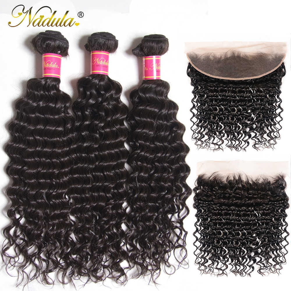 Nadula Hair Peruvian Deep Wave con 3 mechones frontales con 13x4 parte libre de oreja a oreja Cierre de encaje 12-26 pulgadas mechones de pelo Remy