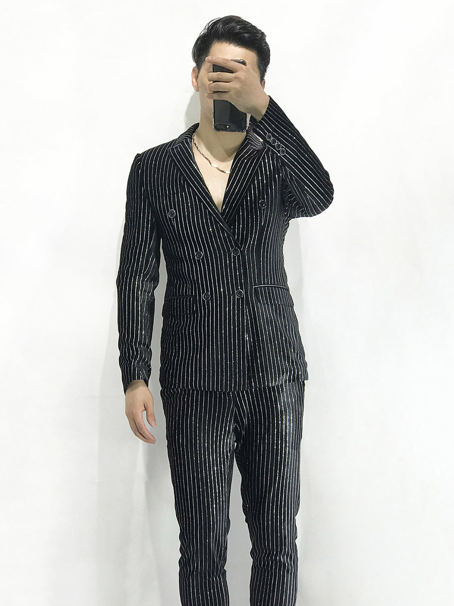 Stripe Suit Male Man's Suit Coat Pant Designs Striped Mens Suits Traje Hombre Formal Business Suits Slim Fit Social Dress Tuxedo