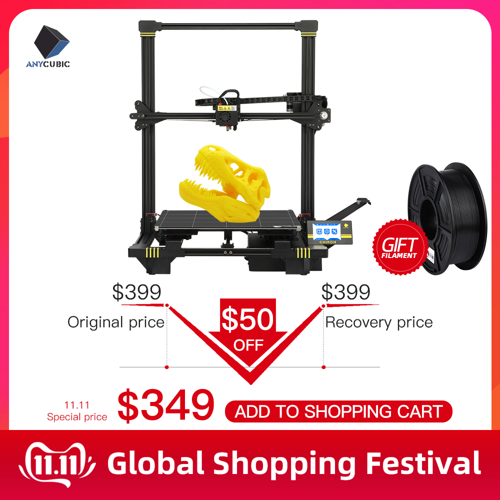 ANYCUBIC Chiron 3D Printer Plus Size TFT Auto leveling Extruder Dual Z Axisolor Impressora 3D Kit DIY Gadget 3d Drucker-in 3D Printers from Computer & Office