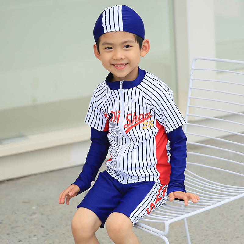 Navy Style Haiyishan Medium-small BOY'S Children Long Sleeve Sun-resistant Warm Sports Cute Bathing Suit