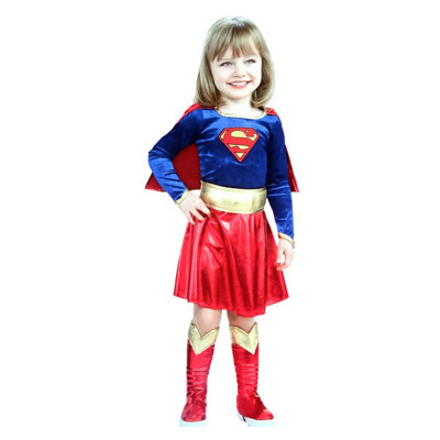 Kids Children Girls Supergirls Superman Cosplay Costume Children's Day Halloween Fancy Dress Superhero Costume Party Dresses Up