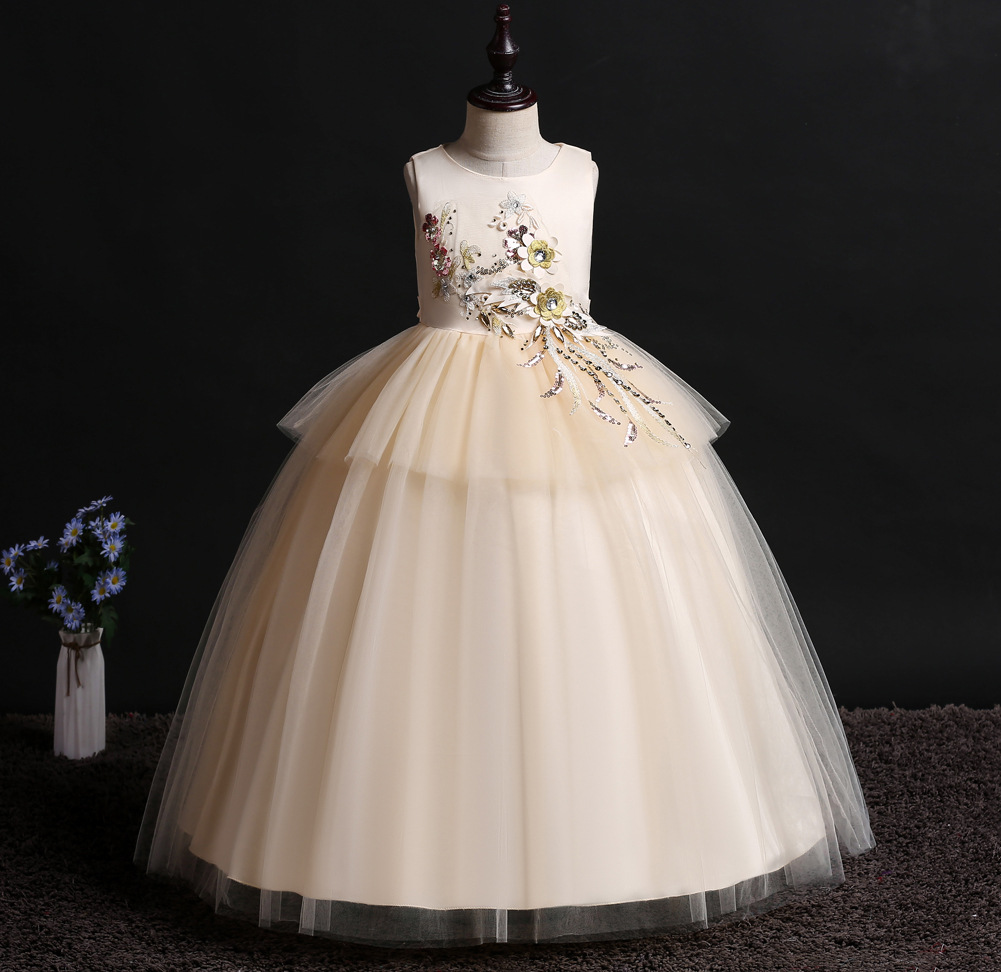 2019 GIRL'S Gown New Style Embroidery Sequin Small Host CHILDREN'S Wedding Dress Princess Dress Long