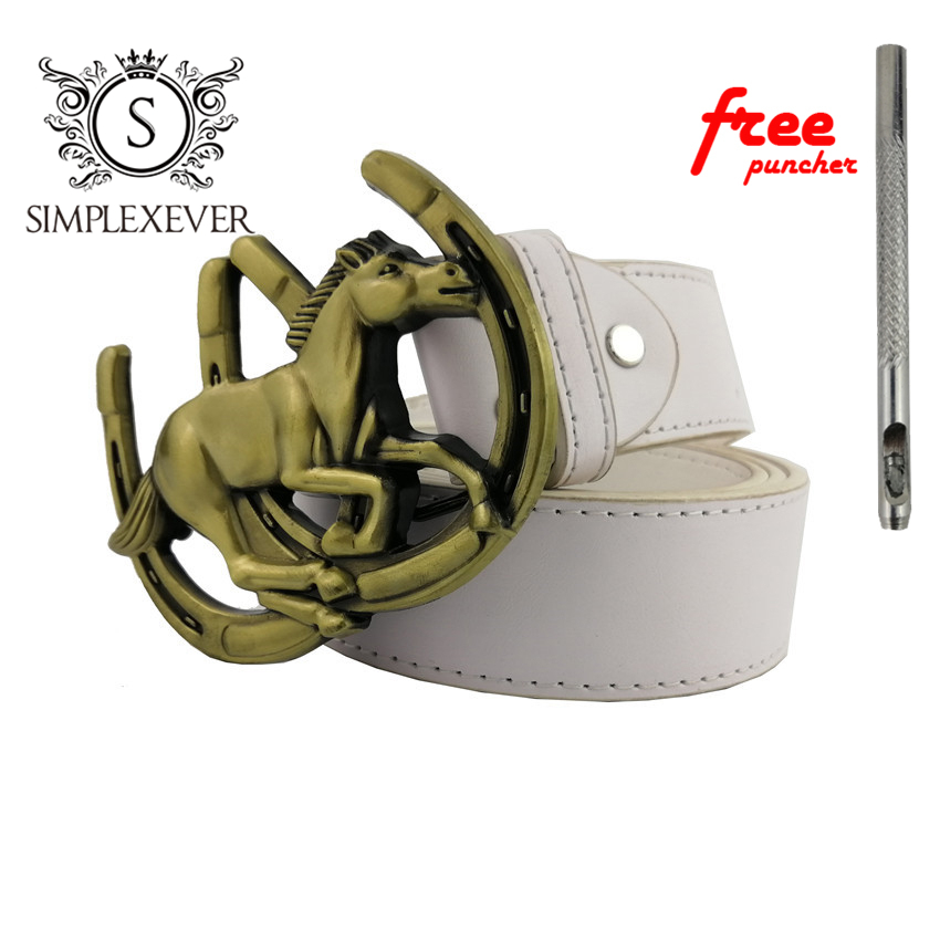 3D Running Horse Solid Brass Men Belt Buckle with Leather Belt Metal Cowboy Belt Buckles for 4cm Wide Belt