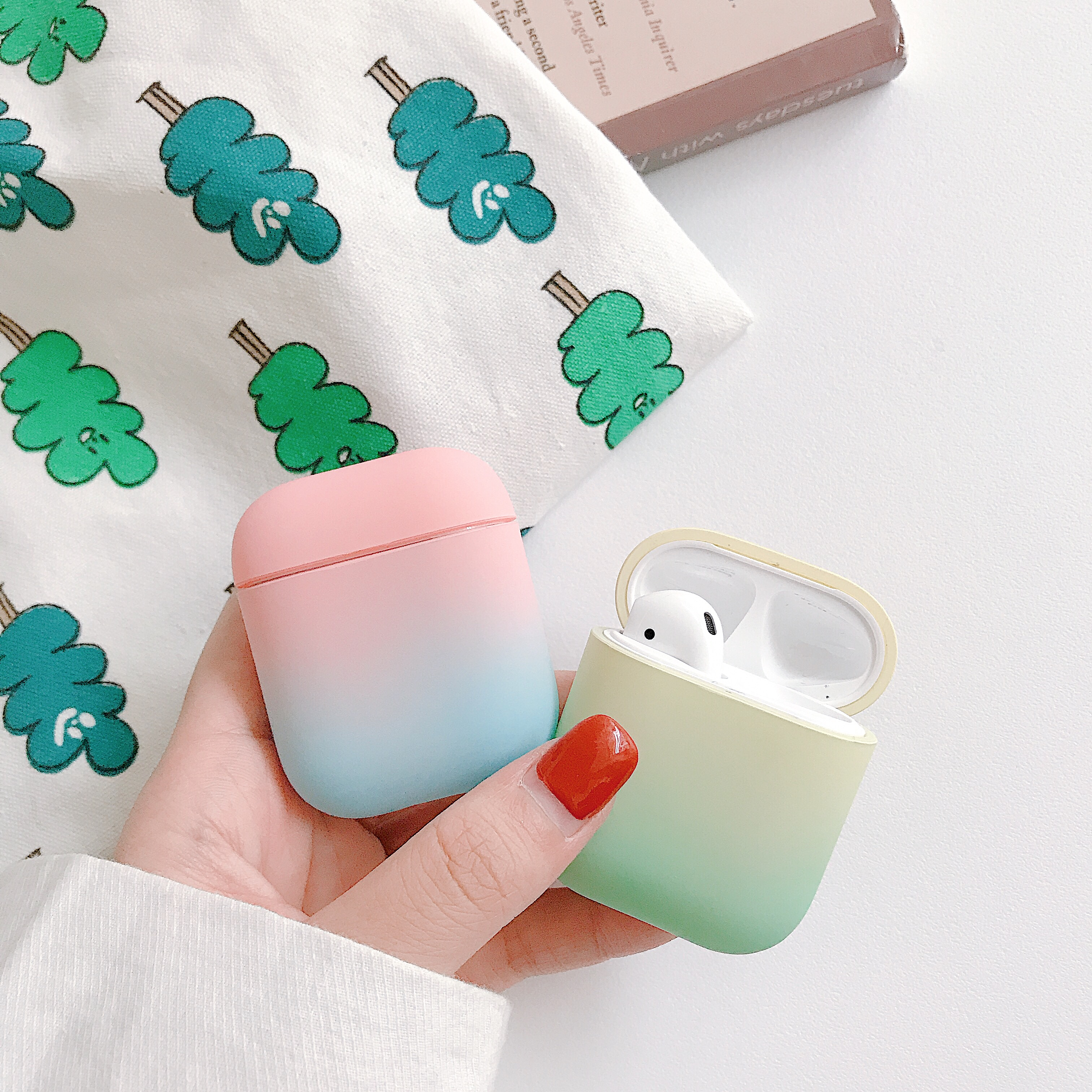 For AirPods Case Gradient Rainbow Color Hard Protective Cover Bluetooth Wireless Earphone Case For Air pods shell in Earphone Accessories from Consumer Electronics