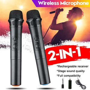 2 IN 1 UHF USB 3.5mm Dual Channel Wireless Microphone Megaphone Handheld Mic with 100M Receiver for Karaoke Speech Loudspeaker