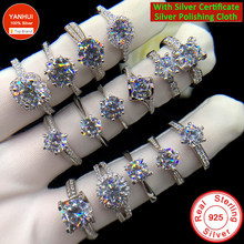 With Certificate Multiple Style Original Silver Ring Zirconia Diamond Wedding Band Silver 925 Jewelry Women Valentine's Day Gift
