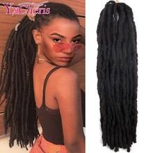 Yxcheris cabelo sintético trançado crochê, cabelo preto marrom crochê para mulheres e homens 18 Polegada