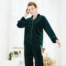 Autumn and winter 2019 new gold velvet pajamas ladies autumn long-sleeved lounge sleepwear suit