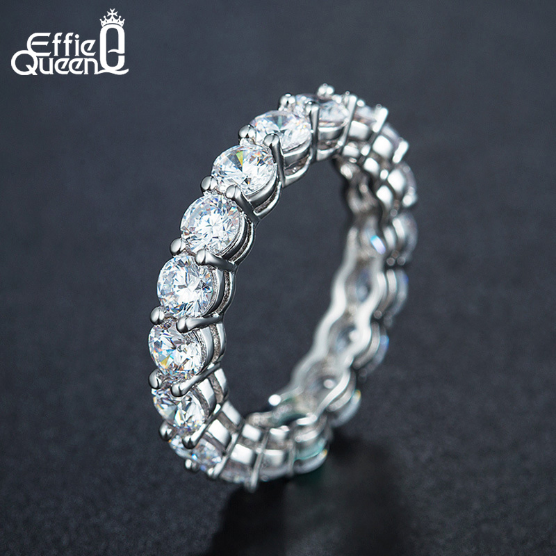 Effie Queen Women s Sterling Silver Ring Female Couple Wedding Band Eternity Round Zircon 925 Silver Effie Queen Women's Sterling Silver Ring Female Couple Wedding Band Eternity Round Zircon 925 Silver Rings Jewelry DSR167