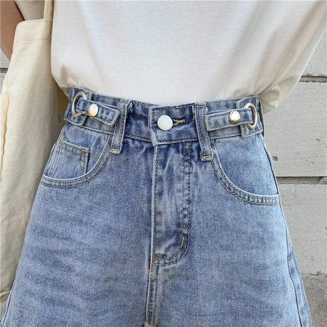 TIGENA High Waist Denim Shorts Women 2021 Summer Casual All-Match Jeans Shorts Female with Pocket Black White 6