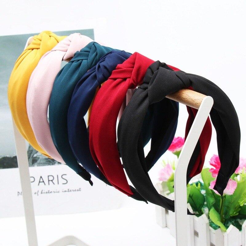 Купить однотонные повязки на голову с узлом для женщин простая эластичная