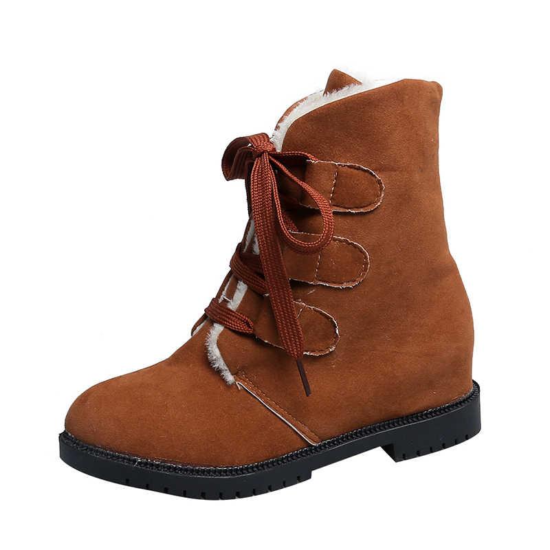 Fujin marka pamuk çizmeler kadın bahar sonbahar kış yüksek kaliteli kar botları yarım çizmeler lastik çizmeler bağcıklı ayakkabı Dropshipping