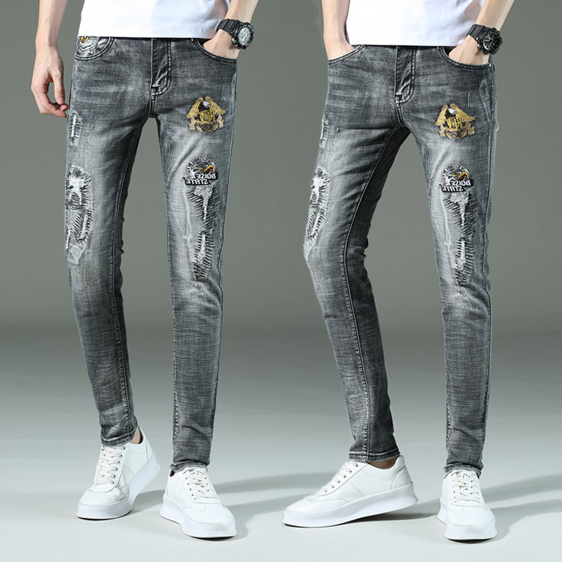 Summer New Style Embroidery Trend Pants Men's Chinese-style Jeans Men's Slim Fit Youth Embroidered Skinny Pants Trend Cool