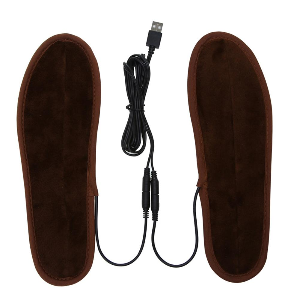 Data Line + Insoles Men Women New USB Electric Powered Plush Fur Heating Insoles Winter Keep Warm Insole Heated Insole Unisex