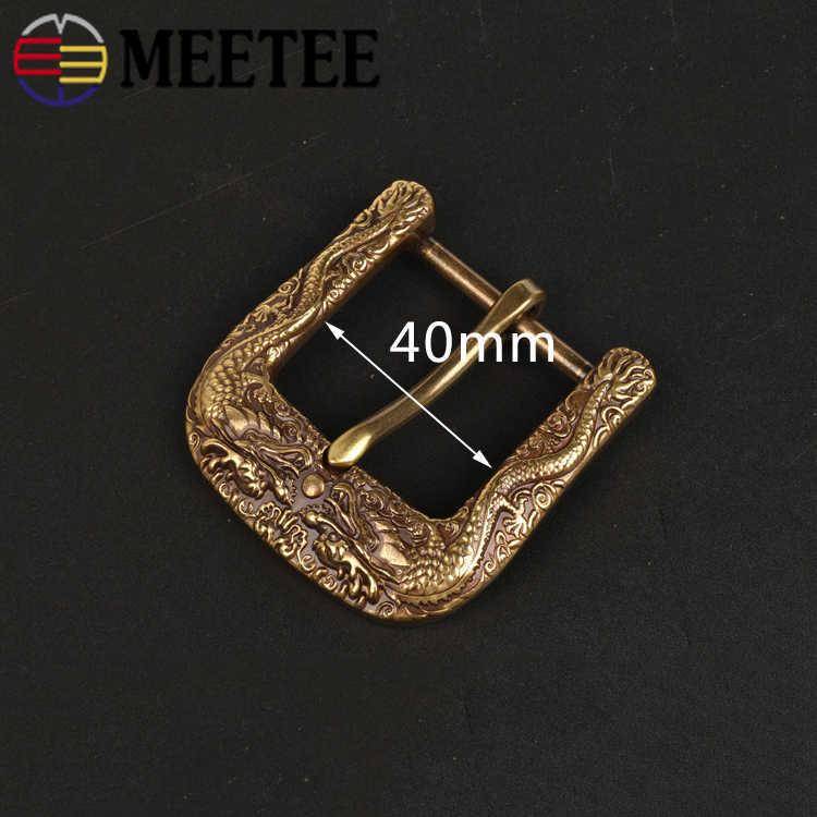 Meetee 40 мм Винтажная с драконом твердая латунная металлическая пряжка Пряжка Петля ремня для 37-38 мм ремень DIY кожевенное Ремесло АКСЕССУАРЫ