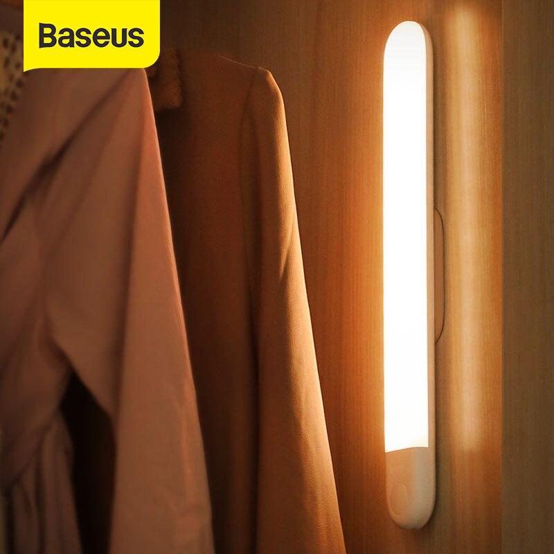 Baseus PIR LED Wardrobe Light Body Motion Sensor Light USB Rechargeable LED Night Lamp Kitchen Removable Magnetic Strip Lights