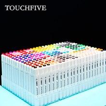 TouchFive Marker 30/40/60/80/168 kolorowe długopisy pędzelek do zdobień alkoholowy tusz na bazie oleju Marker do malowania Manga Dual Headed Sketch markery