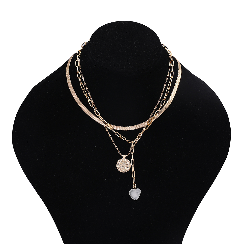 2020 Long Link Chain Resin Heart Pendant Necklace for Women Charm Heart Stone Choker Necklace Fashion Party Jewelry