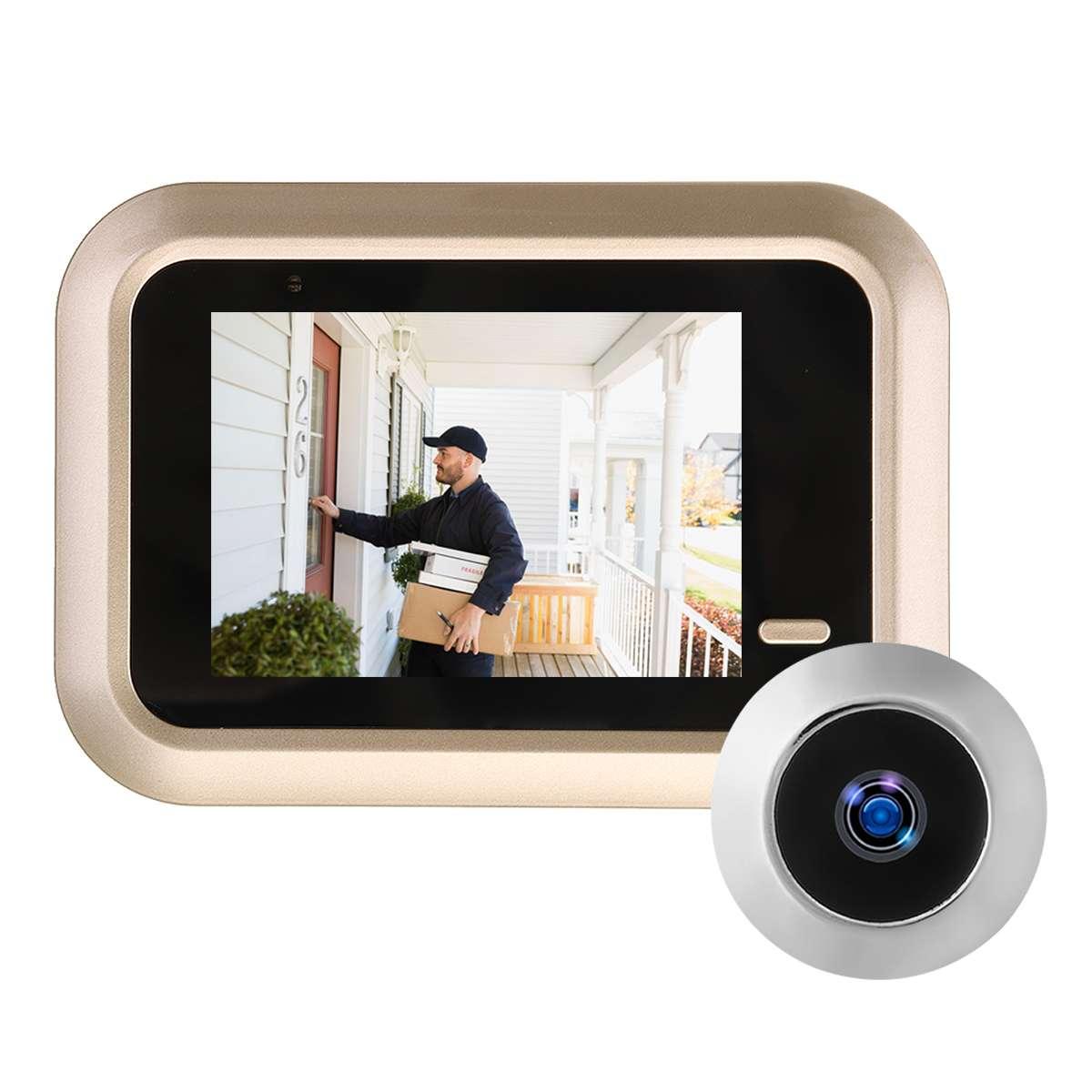 2.4 Inch Peephole Camera LCD TFT Digital Doorbells 160 Degrees View Angle Rechargeable Wireless Home Security Smart Doorbells