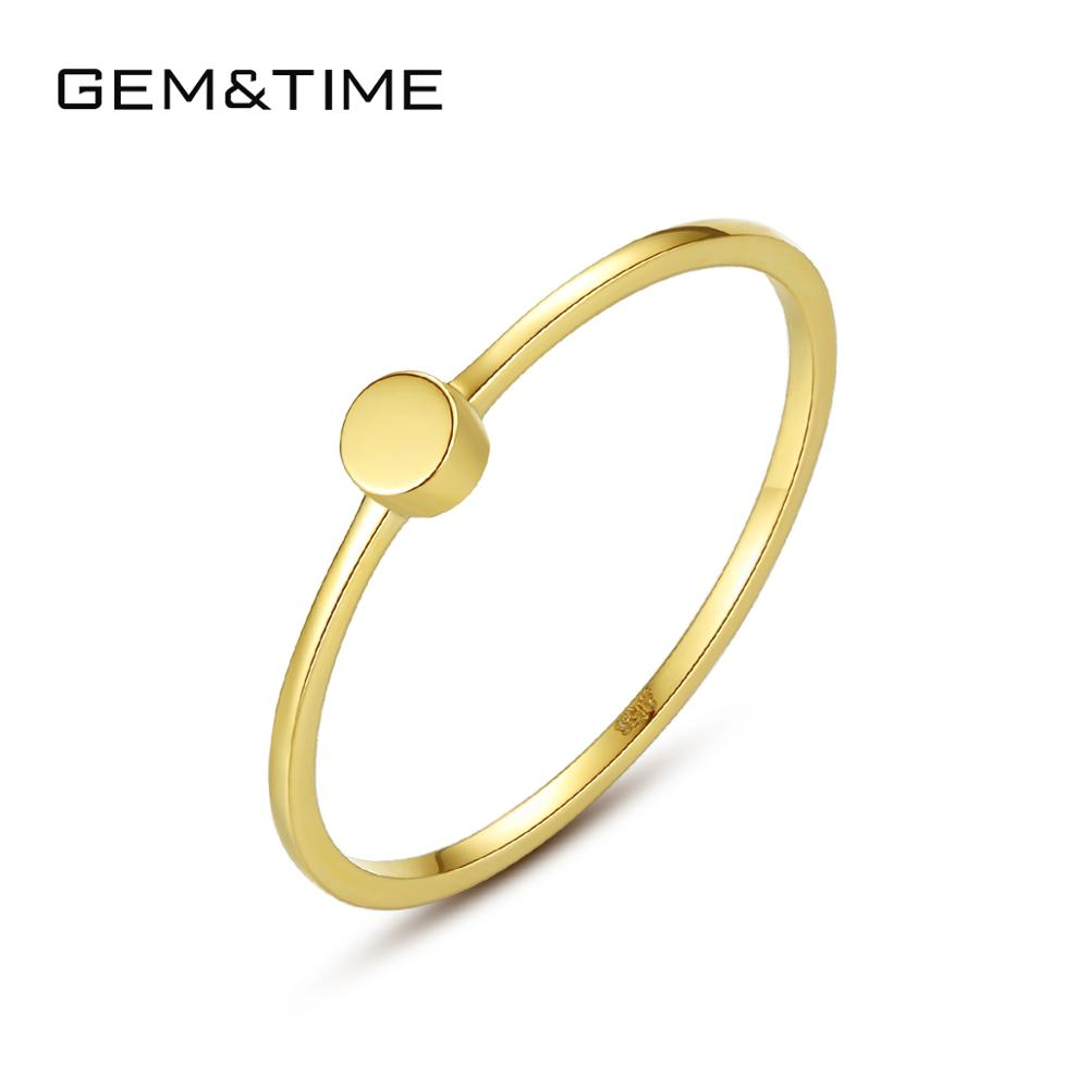 Gem&Time Classic Pure 14K Gold Rings For Women Wedding Engagement Yellow Gold Fine Jewelry Bague De Ouro Pur Au585 Gifts R14142