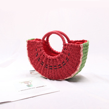 Vacation beach straw bag ladies hand bags Beach female ins portable cute watermelon  2019 new fashion handmade woven