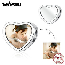 WOSTU DIY Photo Heart Beads Real 925 Sterling Silver Charms Fit Bracelets Pendant Customized Gift Wedding Jewelry Making CTC103