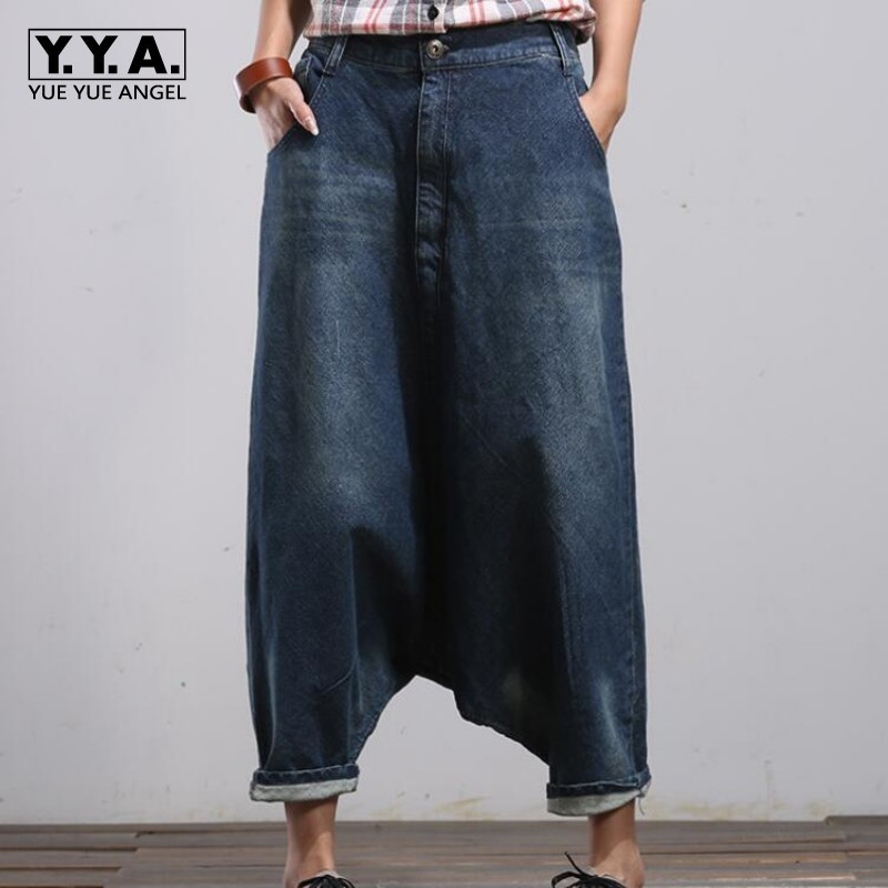 Women Palazzo Capri Baggy Hip Hop Boho Loose Fit Jeans Vaqueros Mujer Broek Vrouwen Warm Jeans Pants For Woman Trousers