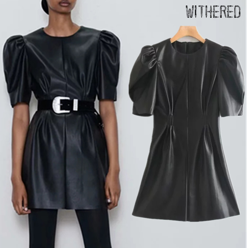 Withered Autumn Leather Dress Women High Street Vintage Puff Sleeve O-neck Vestidos De Fiesta De Noche Vestidos Sexy Mini Dress