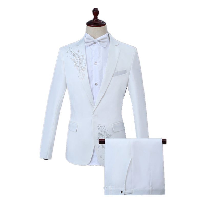 Fashion Men's Up And Down Inlay Diamond Decorative Suit Set (coat+pant) Wedding Prom Party Slim Lapel White Casual Suit