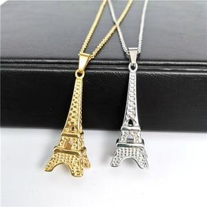 Ожерелье из нержавеющей стали с Парижской башней, Позолоченное серебряное ожерелье, нейтральное ожерелье в стиле ретро, индивидуальное оже...