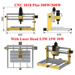 Desktop Wood CNC 3018 Plus Router Engraver Milling Machine with Stepper Motors Nema17/23 and 52mm Spindle Holder Laser head 30W