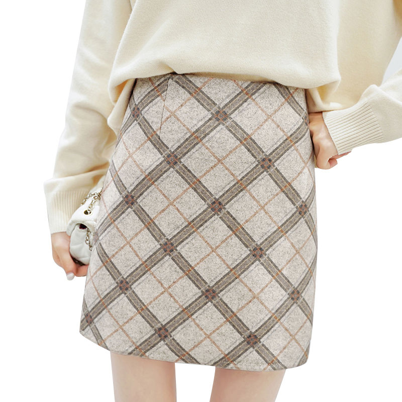 2019 Fashion Autumn Plaid Wool Skirt Women Elegant Hight Waist Mini Skirts With Safe Shorts Female Faldas Mujer Clothing Saia