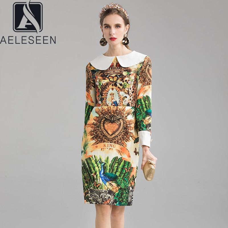 AELESEEN 2020 New Runway Design Print Dresses Office Lady Elegant White Doll Collar Leopard & Peacock Printed Midi Women Dress