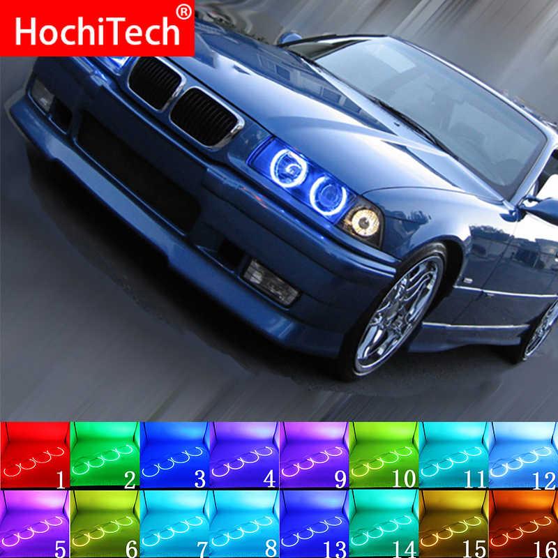 최신 헤드 라이트 멀티 컬러 RGB LED 천사 눈 헤일로 링 아이 DRL RF 원격 제어 BMW 3 시리즈 E36 1990-2000 액세서리