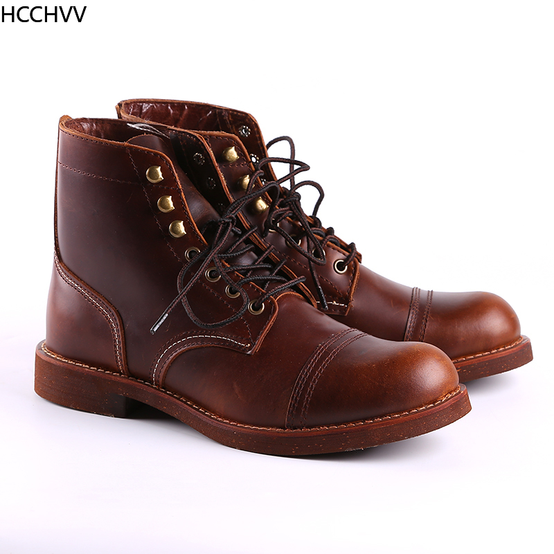 New Spring Autumn Vintage Tooling Dark Wings Male Motorcycle Boots Quality Cow Leather Round Toe Red Men Casual Ankle Boots - 3
