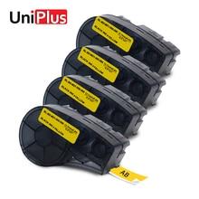 UniPlus 4PK Black on Yellow Label Maker M21-500-595-YL 12mm for Brady BMP21 PLUS ID PAL Typewriter Printer Tapes