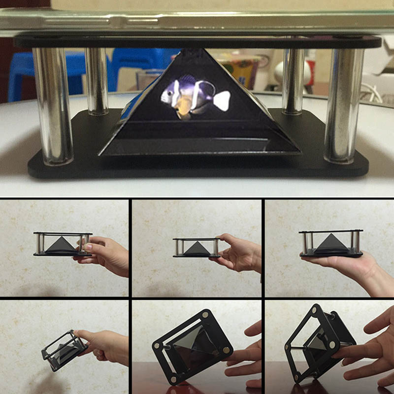 3D Holographic Projector Pyramid Four dimensional Image Display For Mobile Phone SP99