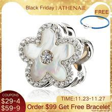 ATHENAIE 925 Sterling Silber Klar CZ Fritillaria Shell Pfirsich blossom Perlen Charms Fit Armbänder Für Frauen